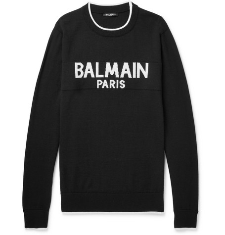 Logo Intarsia Wool Sweater by Balmain
