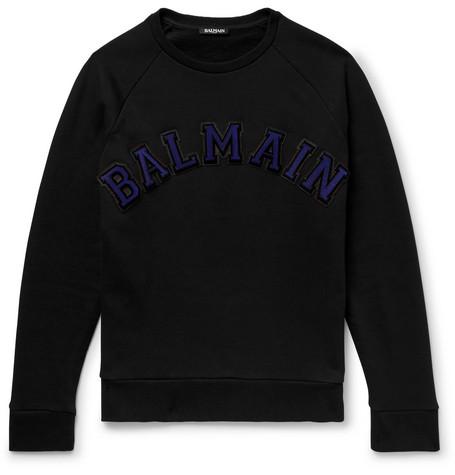 Logo Appliquéd Fleece Back Cotton Jersey Sweatshirt by Balmain