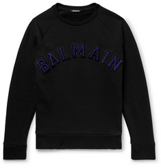 Balmain Logo-Appliquéd Fleece-Back Cotton-Jersey Sweatshirt