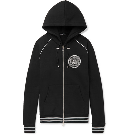 Zip Hoodie Up Print Jersey Cotton Balmain Logo WOqwzSAAx8