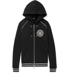 Balmain Logo-Print Cotton-Jersey Zip-Up Hoodie