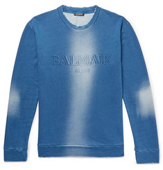 Balmain Slim-Fit Distressed Logo-Embossed Loopback Cotton-Jersey Sweatshirt