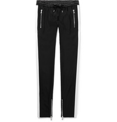 Balmain Skinny-Fit Striped Satin-Trimmed Stretch-Wool Drawstring Trousers