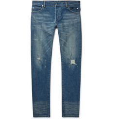 Balmain - Slim-Fit Distressed Stretch-Denim Jeans