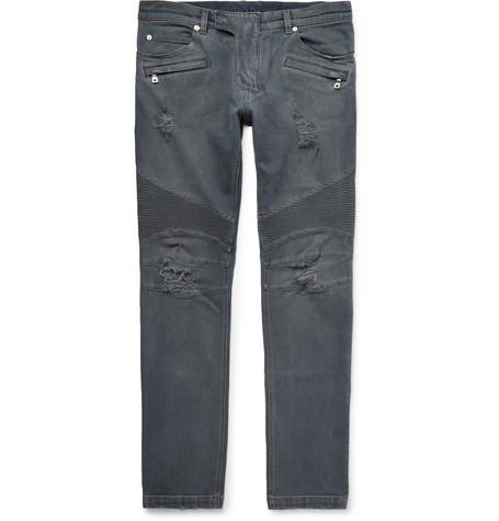 Slim-fit Ribbed Distressed Stretch-denim Jeans