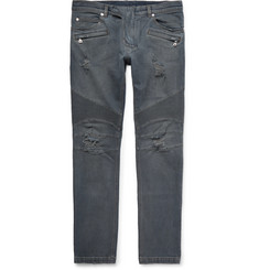 Balmain Slim-Fit Ribbed Distressed Stretch-Denim Jeans