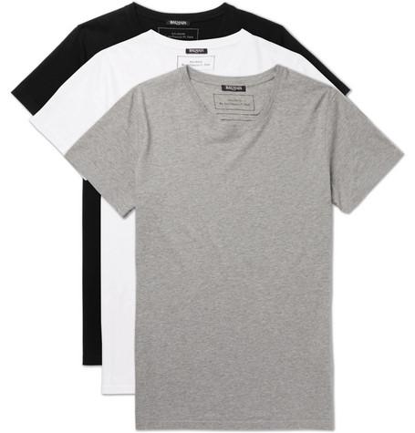 a1f8b75fcc1 Balmain - Three-Pack Slim-Fit Distressed Cotton-Jersey T-Shirts