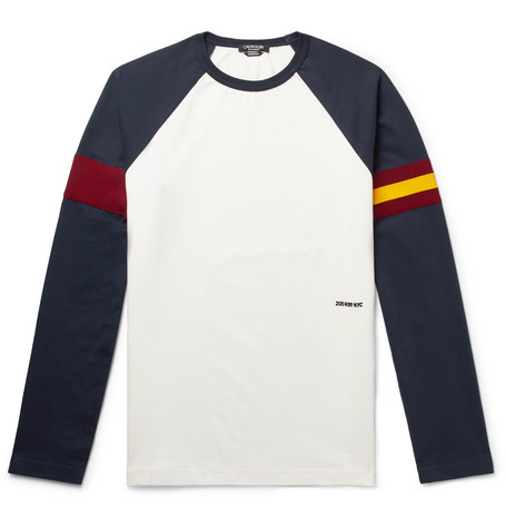 Webbing Trimmed Cotton Jersey T Shirt by Calvin Klein 205 W39 Nyc
