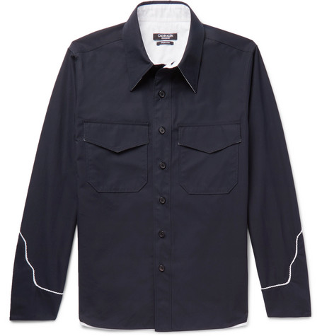 Contrast Trimmed Cotton Shirt by Calvin Klein 205 W39 Nyc