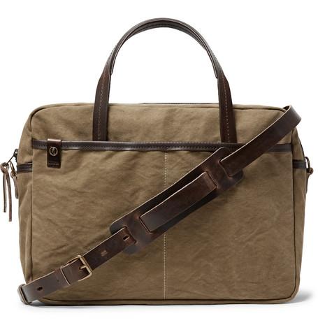 BLEU DE CHAUFFE Leather-Trimmed Canvas Briefcase in Green