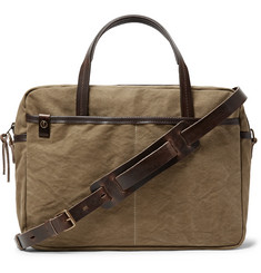 Bleu de Chauffe - Leather-Trimmed Canvas Briefcase
