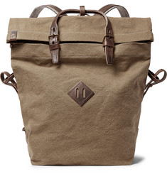 Bleu de Chauffe Woddy Leather-Trimmed Cotton-Canvas Backpack