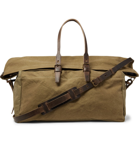 Cabine Leather-trimmed Stonewashed Cotton-canvas Holdall