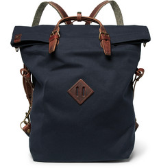 Bleu de Chauffe Convertible Leather-Trimmed Canvas Backpack