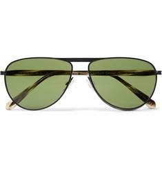 Berluti - + Oliver Peoples Conduit St Aviator-Style Gunmetal-Tone and Acetate Sunglasses