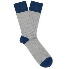 John Smedley Gamma Colour-Block Sea Island Cotton-Blend Socks