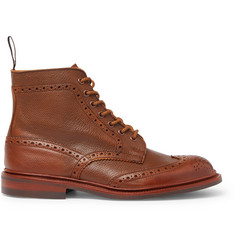 Tricker's Stow Burnished Textured-Leather Brogue Boots