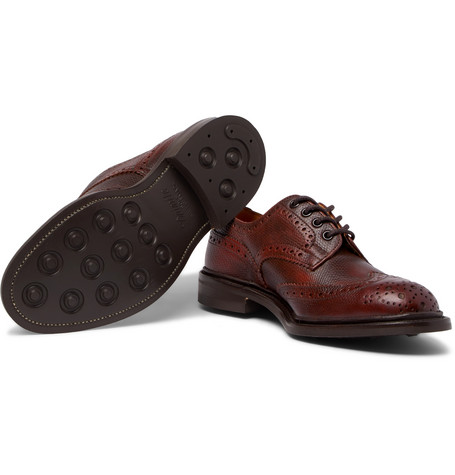 Bourton Burnished Pebble-grain Leather Wingtip Brogues - BurgundyTrickers ezRXXv