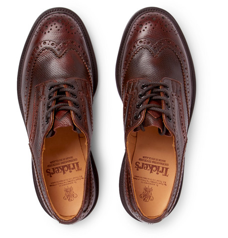 Bourton Burnished Pebble-grain Leather Wingtip Brogues - BurgundyTrickers nlp9HSZ
