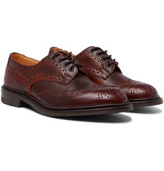 Tricker's Bourton Burnished Pebble-Grain Leather Wingtip Brogues