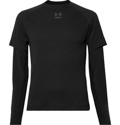 Under Armour Run Layered Microthread and Waffle-Knit Top