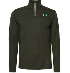 Under Armour Streaker Striped Stretch-Jersey Half-Zip Top