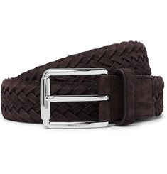 Tod's - 3.5cm Brown Woven Suede Belt