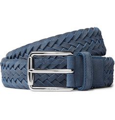 Tod's - 3.5cm Blue Woven Suede Belt