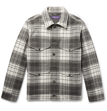 Checked Wool And Alpaca Blend Jacket by Ralph Lauren Purple Label