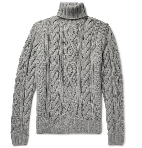 Cable-knit Cashmere And Mohair-blend Rollneck Sweater