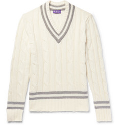 Ralph Lauren Purple Label - Striped Cable-Knit Cashmere Sweater