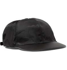 Valentino Camouflage-Jacquard Shell and Leather Baseball Cap