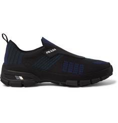 Prada Rubber-Trimmed Nylon-Jacquard Slip-On Sneakers