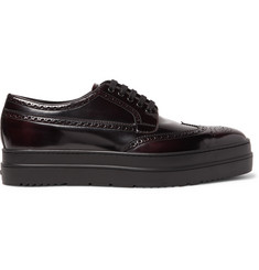 Prada Spazzolato Leather Wingtip Brogues