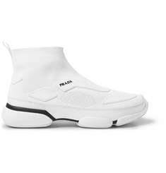 Prada Cloudbust Stretch-Knit and Rubber High-Top Slip-On Sneakers