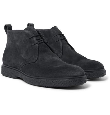 O'KEEFFE Ferdia Shearling-Lined Suede Desert Boots in Black