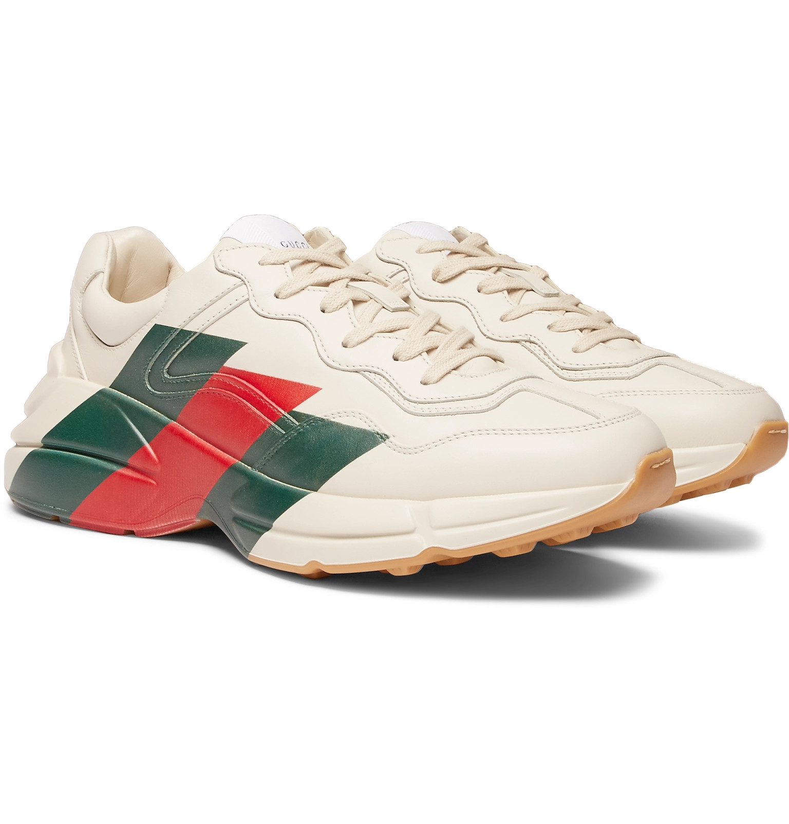 62a156485a470 Gucci - Rhyton Striped Leather Sneakers