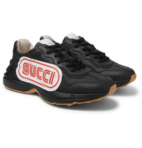 3c5311ae90a Gucci - Rhyton Logo-Print Leather Sneakers