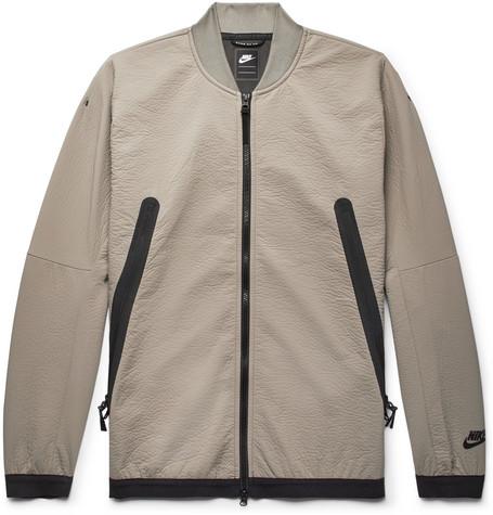 Nike Bomber jackets SPORTSWEAR TECH CRINKLED-JERSEY BOMBER JACKET - TAUPE