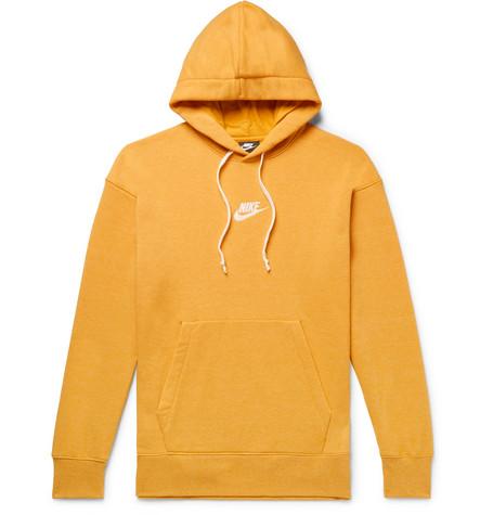 04826b4ef Nike Sportswear Heritage Loopback Cotton-Blend Jersey Hoodie In Mustard