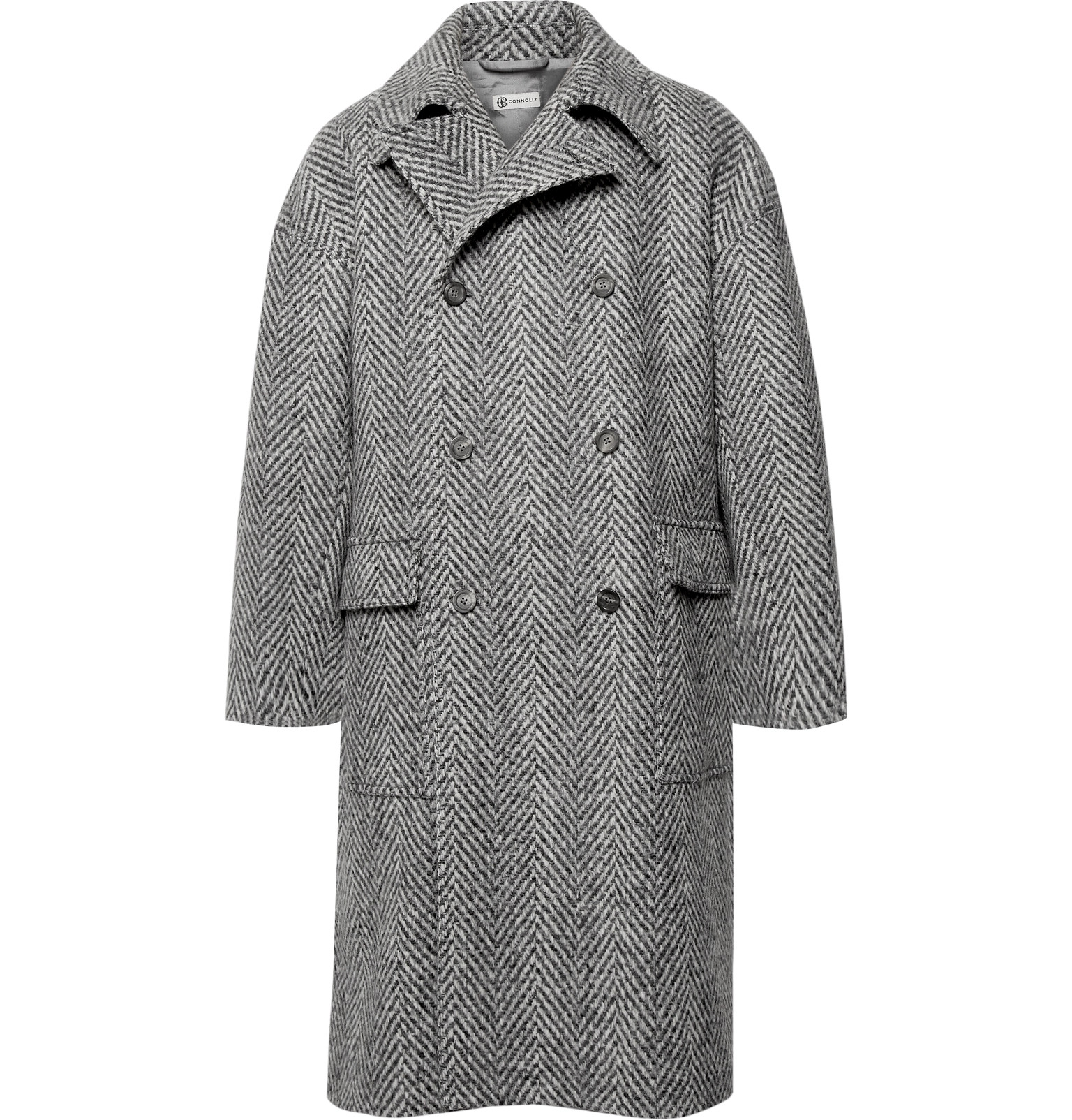 Connolly - Oversized Double-Breasted Herringbone Stretch Virgin Wool-Blend  Coat