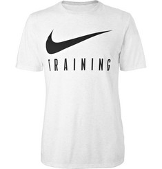 Nike Training Printed Mélange Cotton-Blend Dri-FIT T-Shirt