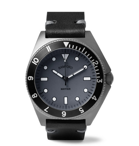 BAMFORD WATCH DEPARTMENT Mayfair Stainless Steel and Leather Watch