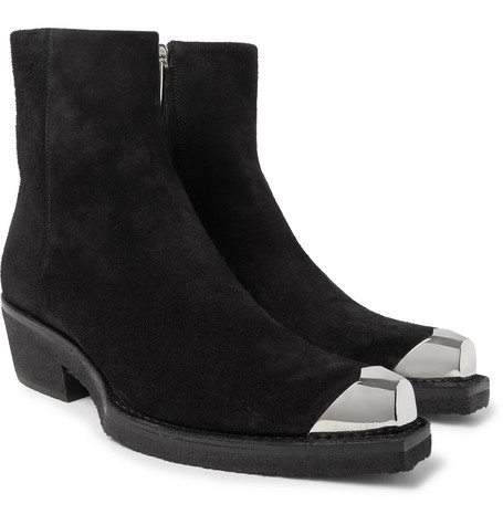 Metal Toe Cap Suede Boots by Calvin Klein 205 W39 Nyc