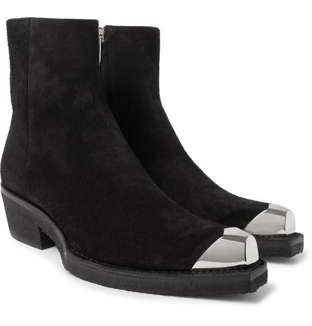 2439c0fb73a62 Shoptagr | Metal Toe Cap Suede Boots by Calvin Klein 205 W39 Nyc