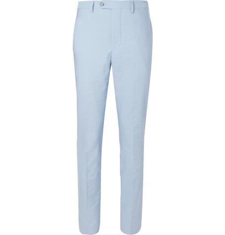 Blue Paul Stretch-cotton Seersucker Trousers Officine Generale kT5PSCHMPJ