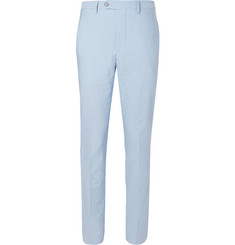 Officine Generale Blue Paul Stretch-Cotton Seersucker Trousers