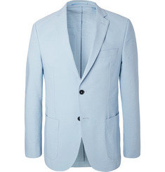 Officine Generale Blue 375 Slim-Fit Unstructured Stretch-Cotton Seersucker Blazer