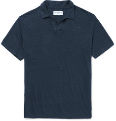 Officine Generale Slub Linen Polo Shirt