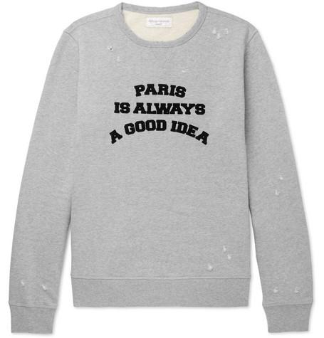Flocked Distressed Loopback Cotton Jersey Sweatshirt by Officine Generale